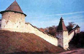 Pskov region. The walls and towers of the Pechory Monastery. Fortress.