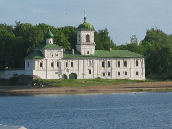 St. Stephan Church with the Holy Doors church in Russian Pskov city, in old Saviour Mirozhsky Monastery.