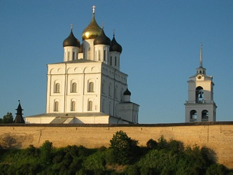 he main attraction of Pskov is ancient Kremlin with it' s Trinity Cathedral