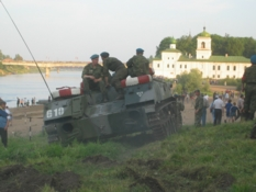 Military Performance on the Velikaya river. Re inactment of the Battle 1944 year of the Liberation of Pskov