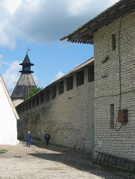Pskov city. Kremlin with Walls and Towers on photos.