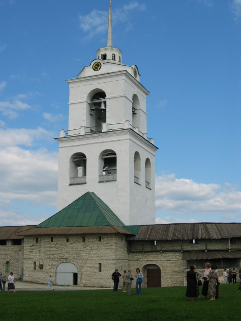 Belfry of Trinity Cathedral in Kremlin Pskov city