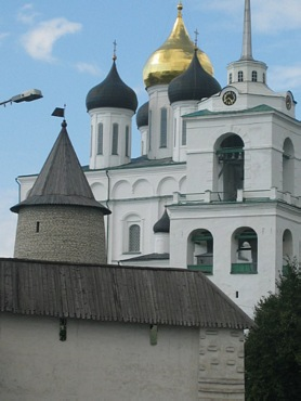 Tower Velikaya near with Cathedral in Kremlin, Pskov city.